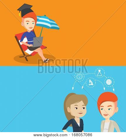 Two educational banners with space for text. Vector flat design. Horizontal layout. Students sharing with ideas during brainstorming. Young students brainstorming. Brainstorming in education concept.