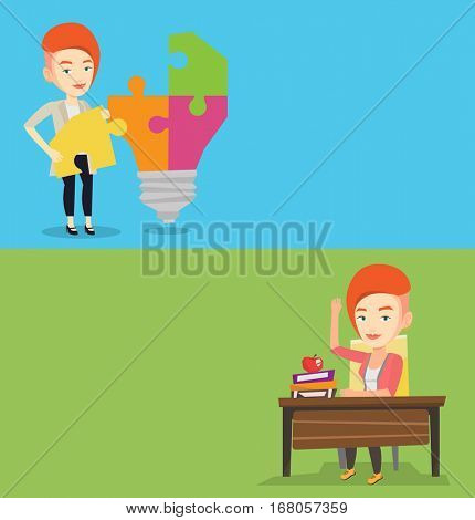 Two educational banners with space for text. Vector flat design. Horizontal layout. Student raising hand for an answer. Student sitting at the desk with raised hand. School girl raising hand at lesson