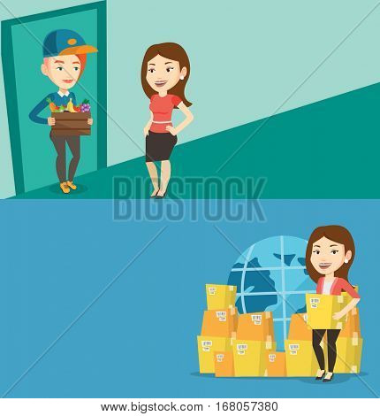 Two industrial banners with space for text. Vector flat design. Horizontal layout. Delivery courier delivering online grocery shopping order to customer. Girl receiving groceries from delivery courier