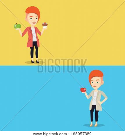Two food banners with space for text. Vector flat design. Horizontal layout. Cheerful woman eating healthy apple. Smiling caucasian woman enjoying fresh healthy red apple. Healthy nutrition concept.