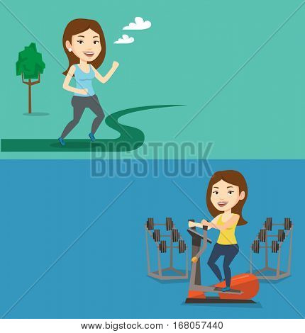 Two lifestyle banners with space for text. Vector flat design. Horizontal layout. Young woman running outdoors. Sports woman running in the park. Caucasian woman exercising on elliptical trainer.