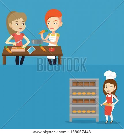 Two food banners with space for text. Vector flat design. Horizontal layout. Caucasian baker holding tray of bread in the bakery. Smiling baker standing near bread rack. Baker holding baking tray.