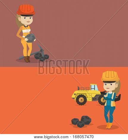 Two industrial banners with space for text. Vector flat design. Horizontal layout. Miner in hard hat holding coal in hands. Miner with a pickaxe. Miner working at coal mine in front of a big excavator