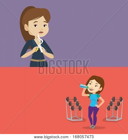 Two lifestyle banners with space for text. Vector flat design. Horizontal layout. Caucasian woman breaking the cigarette. Woman crushing cigarette. Woman holding broken cigarette. Quit smoking concept