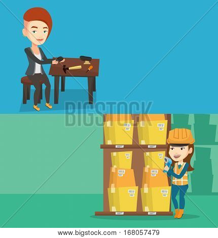 Two industrial banners with space for text. Vector flat design. Horizontal layout. Shoemaker working with a shoe in workshop. Shoemaker repairing a shoe in workshop. Shoemaker making shoes in workshop