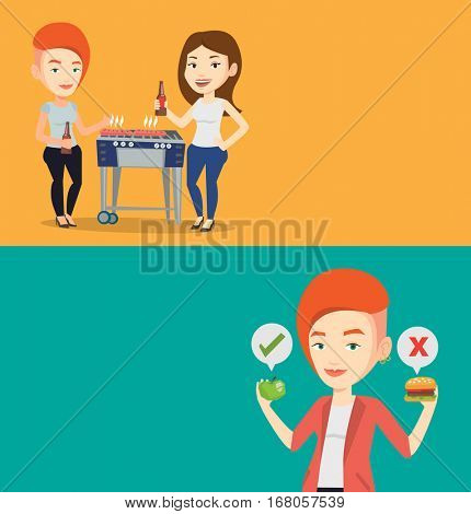 Two food and drink banners with space for text. Vector flat design. Horizontal layout. Friends preparing barbecue and drinking beer. Friends having fun at barbecue party. Women having outdoor barbecue