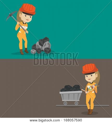 Two industrial banners with space for text. Vector flat design. Horizontal layout. Miner in hard hat working with a pickaxe. Miner at the coal mine. Miner checking documents with the flashlight.