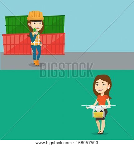 Two industrial banners with space for text. Vector flat design. Horizontal layout. Caucasian woman controlling delivery drone with post package. Young woman getting post package from delivery drone.