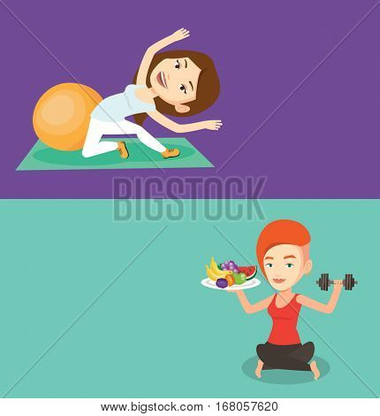 Two lifestyle banners with space for text. Vector flat design. Horizontal layout. Woman doing stretching on exercise mat. Woman stretching before training. Caucasian woman doing stretching exercises.