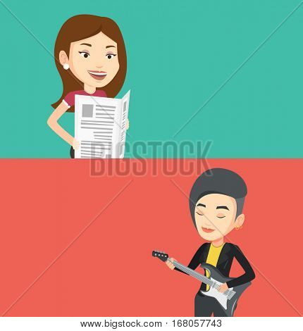 Two media banners with space for text. Vector flat design. Horizontal layout. Woman reading the newspaper. Young smiling woman reading good news in newspaper. Woman standing with newspaper in hands.