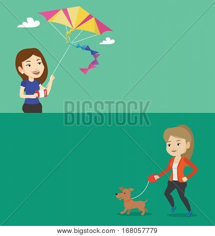 Two lifestyle banners with space for text. Vector flat design. Horizontal layout. Woman flying a colourful kite. Caucasian woman controlling a kite. Woman playing with kite. Girl walking with dog.