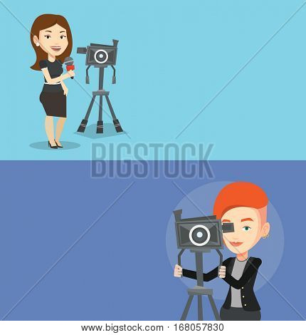 Two media banners with space for text. Vector flat design. Horizontal layout. Cheerful reporter with microphone standing near camera. TV reporter presenting the news. TV transmission with a reporter.