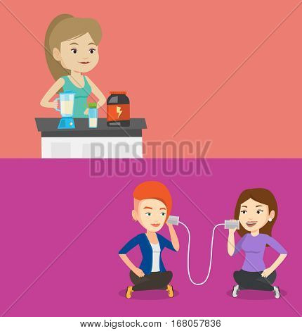 Two lifestyle banners with space for text. Vector flat design. Horizontal layout. Sports woman making protein shake. Young woman preparing protein cocktail. Female bodybuilder cooking protein cocktail