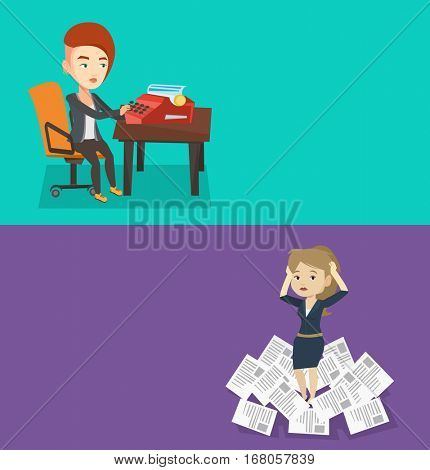 Two media banners with space for text. Vector flat design. Horizontal layout. Young journalist writing an article on a vintage typewriter. Concentrated caucasian journalist working on retro typewriter