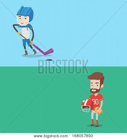 Two sport banners with space for text. Vector flat design. Horizontal layout. Ice hockey player skating on rink. Ice hockey player with a stick. Man playing ice hockey. Rugby player holding ball.
