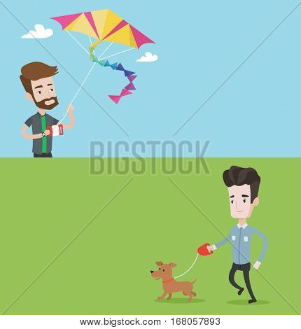 Two lifestyle banners with space for text. Vector flat design. Horizontal layout. Man flying a colourful kite. Caucasian man controlling a kite. Cheerful man playing with kite. Guy walking with dog.