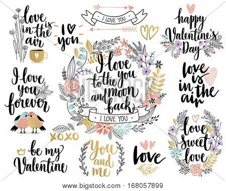 Valentine`s Day Callygraphic Floral set - hand drawn Vector illustration.