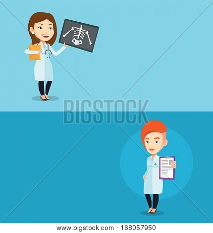 Two medical banners with space for text. Vector flat design. Horizontal layout. Doctor examining a radiograph. Young doctor looking at a chest radiograph. Doctor observing a skeleton radiograph.