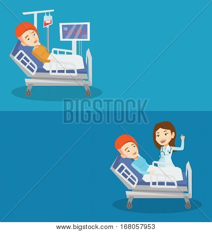 Two medical banners with space for text. Vector flat design. Horizontal layout. Doctor visiting patient. Doctor pointing finger up during visiting of patient. Girl lying in bed while doctor visits her