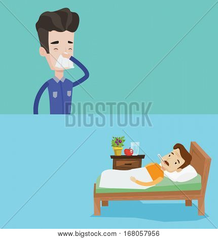 Two medical banners with space for text. Vector flat design. Horizontal layout. Sick man with fever laying in bed. Sad sick man measuring temperature. Sick man suffering from cold or flu virus.