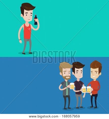Two drinks banners with space for text. Vector flat design. Horizontal layout. Beer fans toasting and clinking glasses. Group of caucasian friends enjoying a beer at pub. Young friends drinking beer.