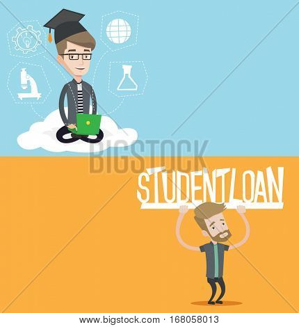 Two educational banners with space for text. Vector flat design. Horizontal layout. Caucasian young man holding a sign of student loan. Disappointed hipster man carrying heavy sign - student loan.