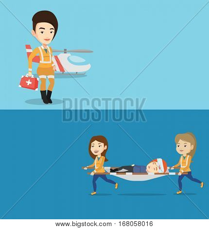 Two medical banners with space for text. Vector flat design. Horizontal layout. Emergency doctors transporting victim on stretcher. Emergency doctors carrying injured woman on medical stretcher.