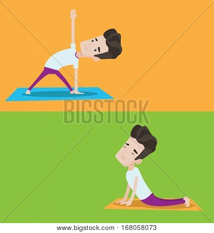 Two lifestyle banners with space for text. Vector flat design. Horizontal layout. Young caucasian man standing in yoga triangle pose. Man meditating in yoga triangle position. Man doing yoga.