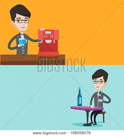 Two drinks banners with space for text. Vector flat design. Horizontal layout. Young caucasian man making coffee. Man holding cup of hot coffee in hand. Man standing beside a coffee machine.