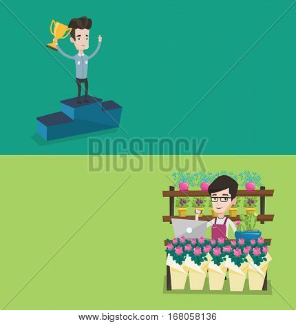 Two business banners with space for text. Vector flat design. Horizontal layout. Young caucasian businessman with business award standing on a pedestal and celebrating. Concept of business award.