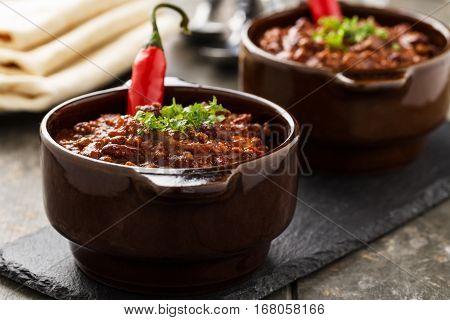 Chili sin carne - stew with beans soy meat and chili peppers