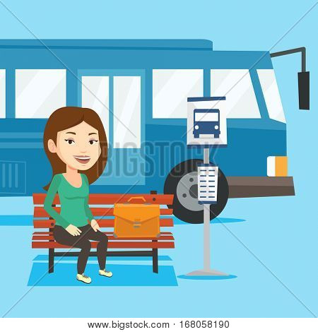 Caucasian business woman with briefcase waiting at the bus stop. Young businesswoman sitting at the bus stop. Businesswoman sitting on a bus stop bench. Vector flat design illustration. Square layout.