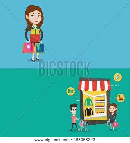 Two shopping banners with space for text. Vector flat design. Horizontal layout. Young caucasian woman holding shopping bags and gift boxes. Woman standing with a lot of shopping bags and gift boxes.