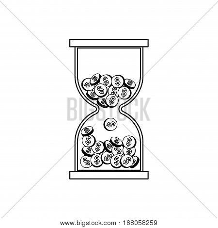 Hourglass with coins icon vector illustration graphic design