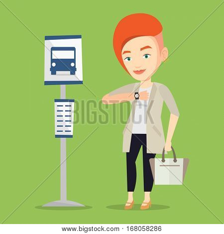 Caucasian businesswoman with briefcase waiting at the bus stop. Young businesswoman standing at the bus stop. Woman looking at her watch at the bus stop. Vector flat design illustration. Square layout