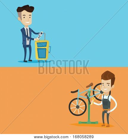 Two transportation banners with space for text. Vector flat design. Horizontal layout. Man working in bicycle workshop. Technician fixing bicycle in repair shop. Young mechanic repairing bicycle.