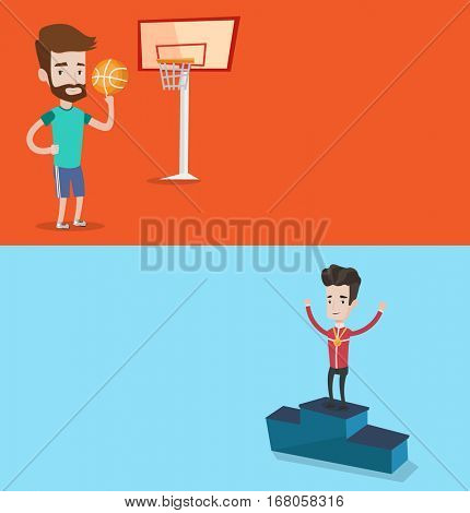 Two sport banners with space for text. Vector flat design. Horizontal layout. Basketball player spinning ball on finger. Basketball player standing on court. Sportsman standing on the winners podium.