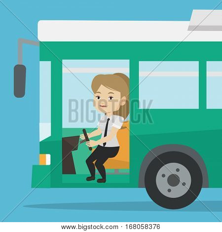 Caucasian female bus driver sitting at steering wheel. Young female driver driving passenger bus. Female bus driver sitting in drivers seat in cab. Vector flat design illustration. Square layout.