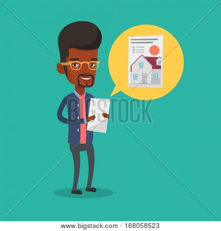 Young man looking at photo of a house on a tablet computer. Man seeking for appropriate house on a tablet computer. Man holding home purchase contract. Vector flat design illustration. Square layout.