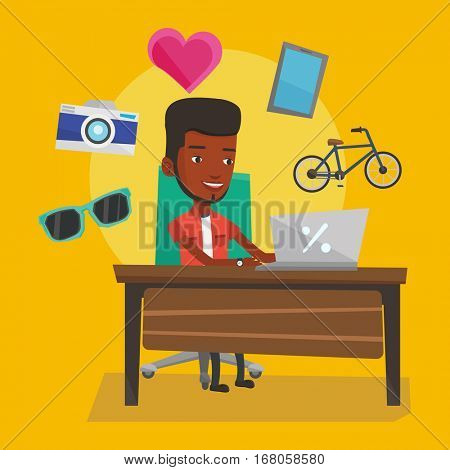Young african-american man using laptop for online shopping. Happy man doing online shopping. Smiling man buying in online shop. Guy buying on internet. Vector flat design illustration. Square layout.