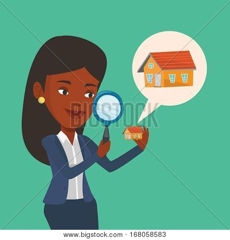 African-american woman looking for a new house in real estate market. Young woman using a magnifying glass for seeking a new house in real estate market. Vector flat design illustration. Square layout
