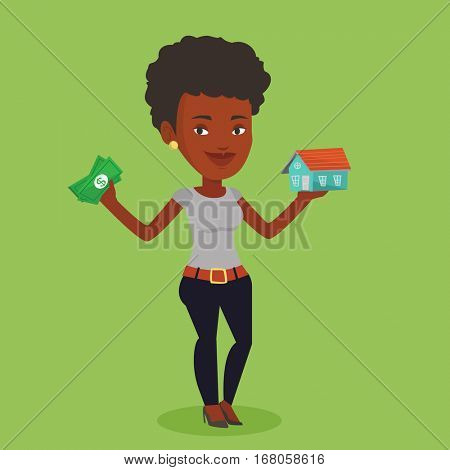 African-american woman holding money and model of house. Woman having loan for house. Woman got loan for buying a new house. Real estate loan concept. Vector flat design illustration. Square layout.