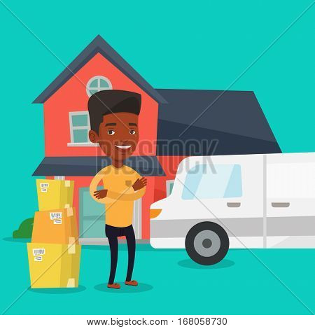 Homeowner standing in front of new home. African homeowner unloading cardboard boxes. Homeowner unpacking removal truck. Man moving to a new house. Vector flat design illustration. Square layout.