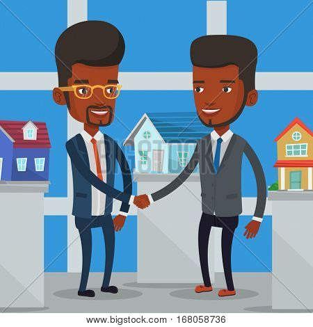 Young african-american realtor shaking hand to customer after real estate deal in office. Conclusion of real estate deal between realtor and buyer. Vector flat design illustration. Square layout.