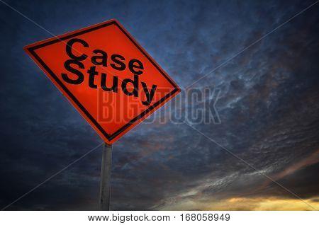 Orange Storm Road Sign Of Case Study