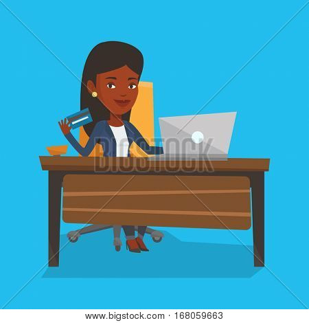 African woman sitting at the table with laptop and holding credit card in hand. Woman using laptop for online shopping. Woman shopping online at home. Vector flat design illustration. Square layout.