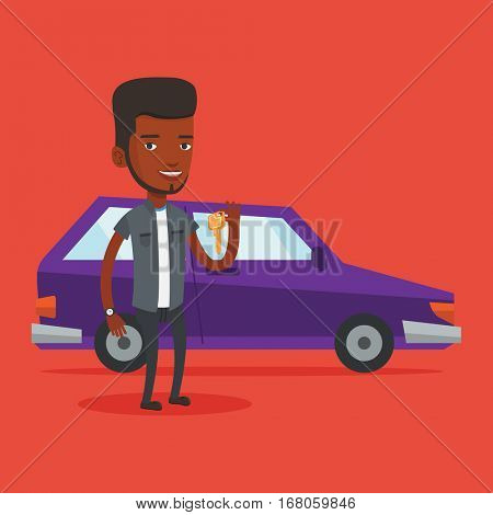 African-american man holding keys to his new car. Happy man showing key to his new car. Young smiling man standing on the backgrond of his new car. Vector flat design illustration. Square layout.