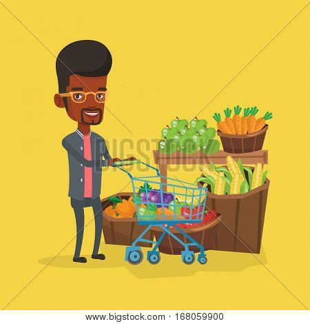 African-american man pushing a supermarket cart with some vegetables in it. Customer shopping at supermarket with cart. Man buying fresh healthy food. Vector flat design illustration. Square layout.