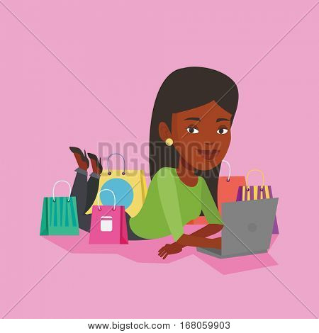 Young african-american woman using laptop for online shopping. Woman lying with laptop and making online shopping order. Woman doing online shopping. Vector flat design illustration. Square layout.