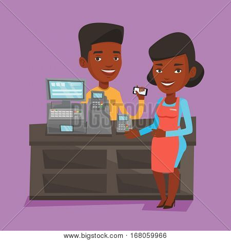 Woman paying wireless with her smartphone at the supermarket checkout. Customer making payment for purchase with smartphone. Cashier accepting payment. Vector flat design illustration. Square layout.